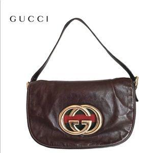 """GUCCI Brown Leather """"Britt"""" Shoulder Bag"""